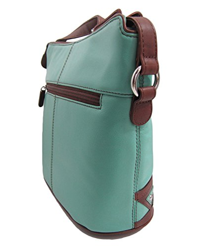 RFID ili Zip Leather Crossbody with Turquoise Handbag Lining Hobo 6862 vZwA06rqZ