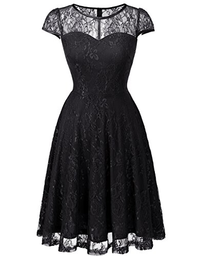 DRESSTELLS Women's Bridesmaid Dress Retro Lace Swing Party Dresses with Cap-Sleeves Black XL -