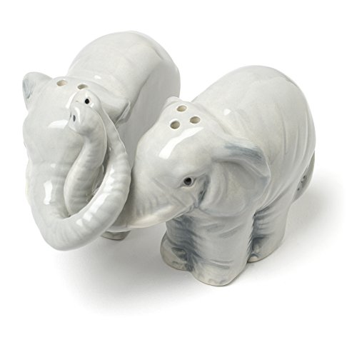 Abbott Collection Hugging Elephants Ceramic Salt & Pepper Shaker - Salt Shakers Hug Pepper