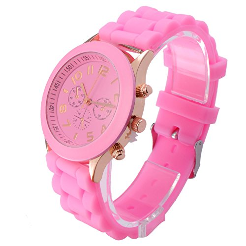 OFTEN Popular Silicone Rubber Jelly Gel Quartz Analog Watch for Men Women Girl Boy Kids Students Nurse Unisex Sports Leisure Wrist Watch - Pink Quartz Jelly