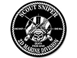 sniper decal - GHaynes Distributing MAGNET ROUND Scout Sniper 2d Marine Division Magnet(decal one shot kill 2nd) Size: 4 x 4 inch