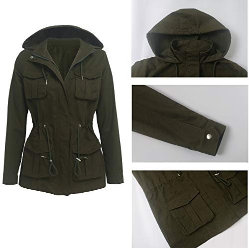 SheKiss Women Camouflage Paint Lightweight Jackets Long Sleeve Zipper Canvas Camo with Pockets