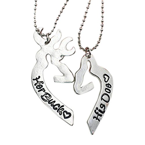 Love Heart Elk Lovers Couple Silver Necklace Set