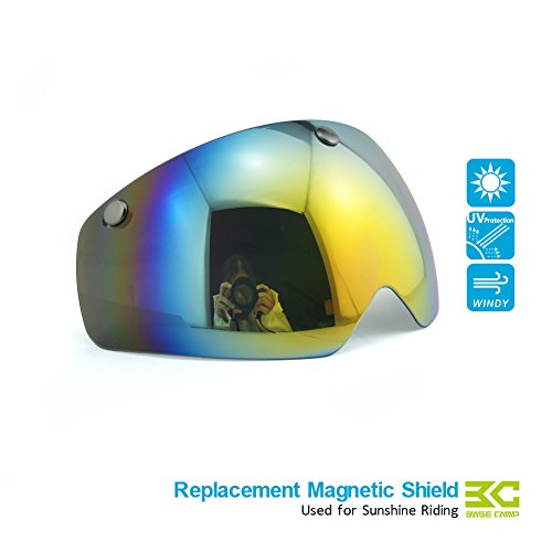 Basecamp Cycling Bike Helmets with Removable Shield Visor (Rainbow lens) (Visor Rainbow)