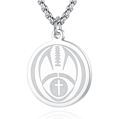 Molike Sports Cross Pendant Necklace for Men Women with an Inspiring Luke 1:37 Bible Verse on Back (Silver Football Pendant) (Inspiring Football)