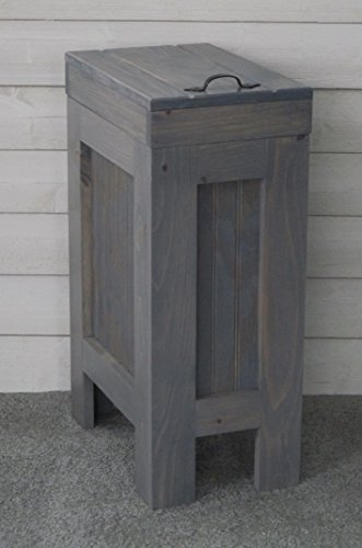 Rustic Wood Trash Bin, Kitchen Trash Can, Wood Trash Can,Trash Cabinet, Dog food storage, 13 Gallon , Recycle Bin, Gray Stain - Metal Handle - Handmade in USA By Chris- BuffaloWoodshop by BuffaloWood Shop