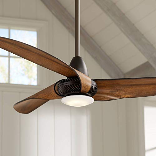 56 Sleuth Modern Ceiling Fan with Light LED Dimmable Oil Rubbed Bronze Frosted Glass for Bedroom Living Room Kitchen Dining – Casa Vieja