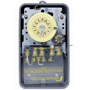 Intermatic T1471BR Mechanical Timer Switch 24 Hour Gray 4PST 125 Volt AC NEMA 3R Steel Case Separate Clock Motor and Circuit Terminals