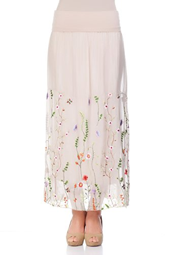 Cotton Silk Embroidered Skirt (Laura Moretti - Long silk skirt with floral design)