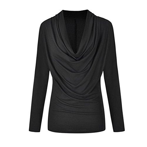 Clearance Sale! Women's Shirt, Jiayit Womens Cowl Neck Tops Fashion Long Sleeve Autumn Winter Blouse Plus Size T Shirt Casual Outwear Tops (5XL, Black)