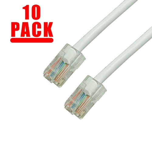 GRANDMAX 10-Pack CAT5e / 7FT/ White / RJ45 Ethernet Network Patch Cable, 350MHz, UTP (7 350mhz Foot Cat5e Network)