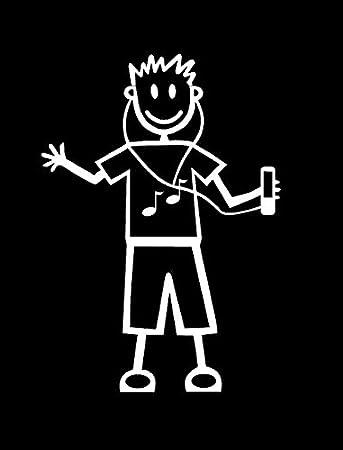My Stick Figure Family Familie Autoaufkleber Aufkleber Sticker Decal älterer Junge Musik Ipod Tm10 Auto