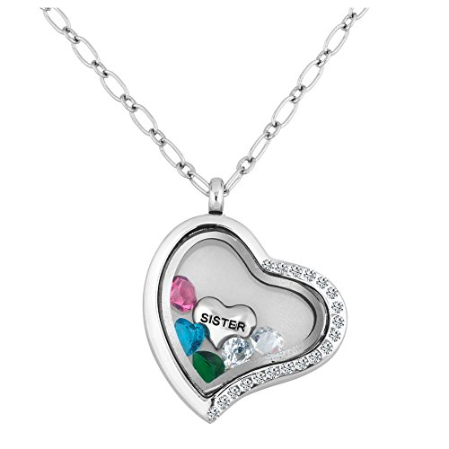 Crystal Heart Locket Necklace - LuckyJewelry SISTER Living Locket Heart Necklace With Swarovski element Crystal Floating Charms 18 Chain