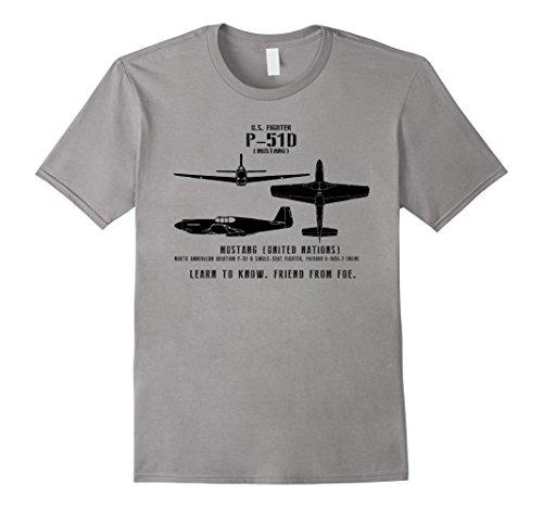 WWII Spotter Series P-51 D Mustang Fighter Aircraft T-Shirt ()