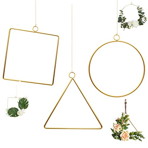 - Pack of 3 Matte Brass Champagne Geometric Wire Round Triangle Square Hoop Frame for DIY Flower Arrangement Wreath Macrame Wall Hanging Wedding Baby Shower Backdrop Decor Geometric Wire Wall Decor