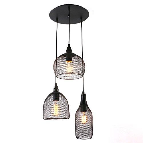 Multi Light Canopy (Unitary Brand Antique Black Metal Nets Shade Multi Pendant Light with 3 lights Painted)
