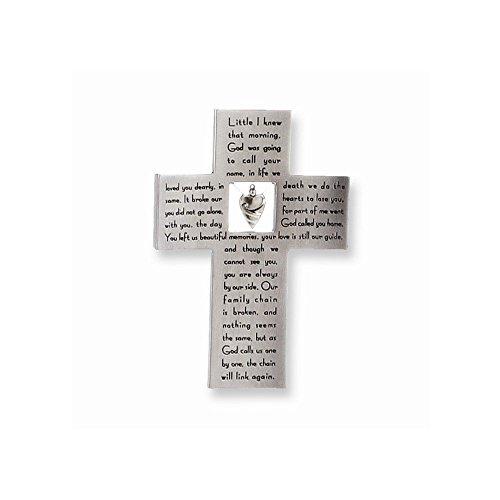 In Memory Bereavement Silver Resin Stoneware Wall Cross