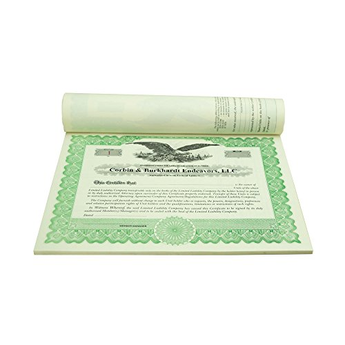 Blumberg Imprinted and Numbered Business Corporation and LLC Certificates (for LLC Units of Membership Interest, Green Bound) by Blumbergs Law Products