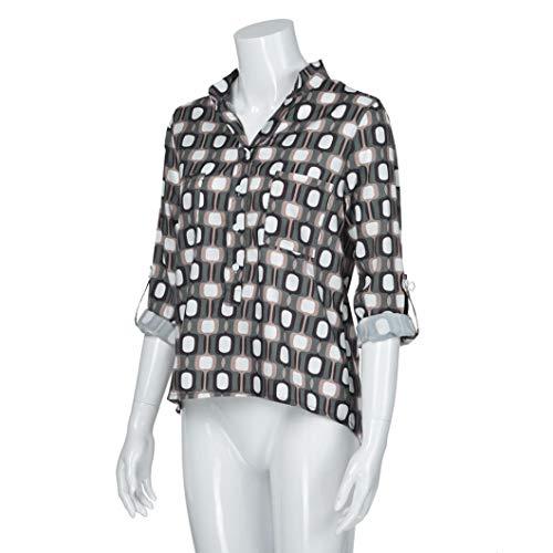 Subfamily Shirt A Manches Chemiser T Fleurs d'automne Haut Gris Femme Blouse Chemise Longues Top Manches lache Longues rTqr18
