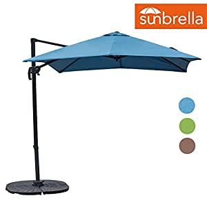 Sundale Outdoor 8.2ft Square Sunbrella Fabric Offset Hanging Umbrella Market Patio Umbrella Aluminum Cantilever Pole with Crank Lift, Corss Frame, 360°Rotation, for Garden, Deck, Backyard (Sky Blue)