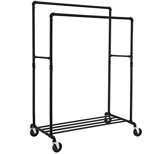 SONGMICS Industrial Pipe Double Rail Clothes Rack on Wheels with Commercial Grade Clothing Hanging Rack Organizer for Garment Storage Display Black ()
