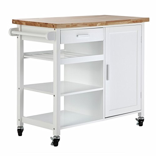Homegear Utility V2 Kitchen Storage Cart with Rubberwood Cutting Block White
