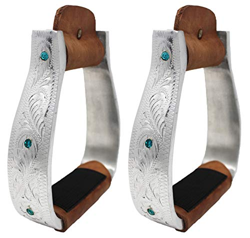 Horse Saddle Aluminium Western Riding SS Stirrups Leather Tread 51147