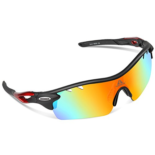 HODGSON Polarized Sports Sunglasses with 5 Interchangeable Lenses for Men Women Cycling Baseball Running Glasses, TR90 Unbreakable -Red