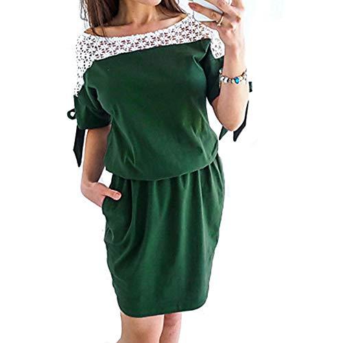 JIZHI Green Color Básico Vestido Mini Encaje Un XL Vaina Mujer AAaxnRP