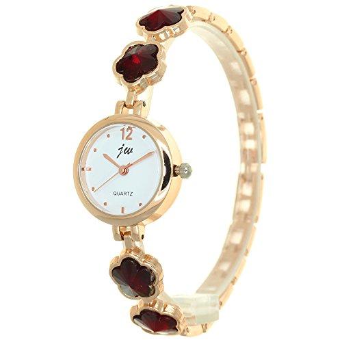 Plum Blossom Crystal Mounted Bracelet Band Jewellery Watch Rose Gold Stainless Steel Belt Rhinestone Women Leisure Wristwatch