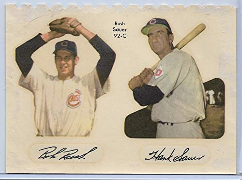 1952 Star-Cal Decals Type 2 Bob Rush-Hank Sauer # 92-C Chicago Cubs Poor