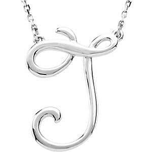 IceCarats 925 Sterling Silver Script Initial Necklace J Silver Fashion Script Pendant