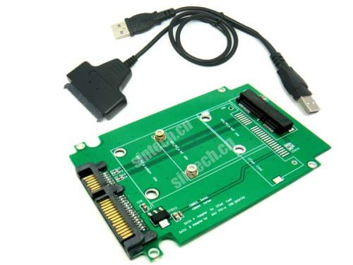 Sintech Mini PCI-e SATA SSD to SATA Adapter for Asus Eee PC 1000 S101 900 901 900A T91 SSD with USB SATA Cable - Eee Pc Ssd