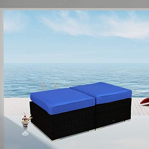 Outdoor Ottoman Patio Black Wicker Footrest w Cushion Outdoor Seating Set of 2 PE Rattan with Royal Blue Cushion