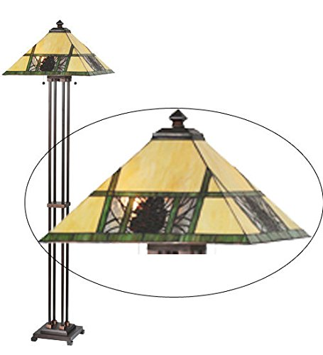 Tiffany Style Stained Glass Light Pinecone Ridge Floor Lamp
