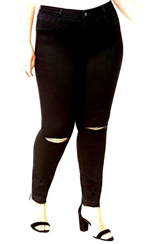 WX Womens Plus Size Distressed Knee Hole Ripped Stretch Jeans Skinny Twill Pants (18-Plus, Black RRPB-2722)