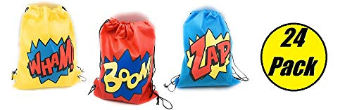24 Pack Superhero Party Supplies | Party Favor Goody Bags | Drawstring Backpack | Boom! Wham! & Zap! | Perfect for the Superhero Party Ideal for Boys and Girls | -