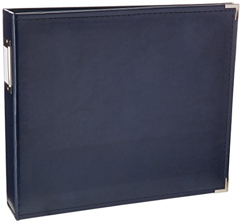(12 x 12-inch Classic Leather 3-Ring Album by We R Memory Keepers | Navy, includes 5 page protectors)