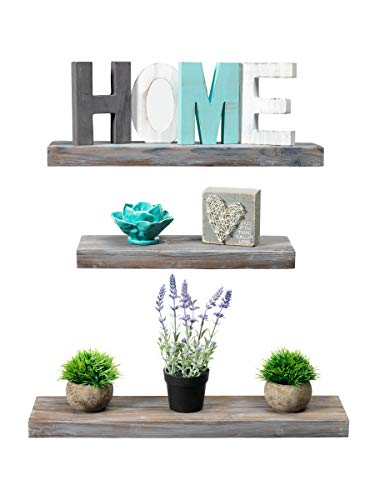 Rustic Farmhouse 3 Tier Floating Wood Shelf - Floating Wall Shelves (Set of 3), Hardware and Fasteners Included