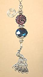 Purple Rhinestone, Iridescent Blue, & Silvery Peacock Ceiling Fan Pull Chain
