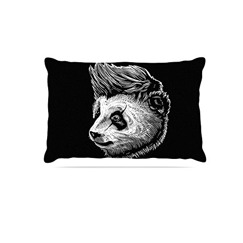 30 by 40\ Kess InHouse BarmalisiRTB Funky Panda  Black White Fleece Dog Bed, 30 by 40