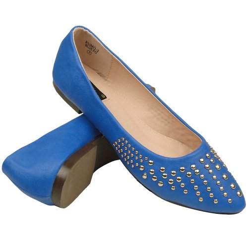 Womens Ballet Flats Pointy Toe Studded Toe Cap Blue