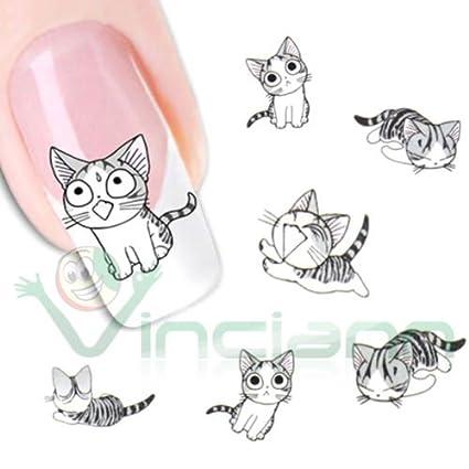 Adhesivo sticker Gatos Art Decoración Uñas Manicura Transferencia Agua gato: Amazon.es: Electrónica