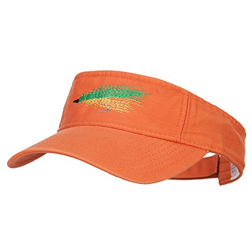 Green Fly Fishing Embroidered Pro Style Cotton Washed Visor - Orange OSFM by e4Hats.com (Image #5)