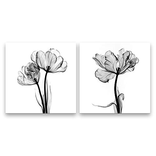 SIGNFORD 2 Panel Canvas Wall Art Black and White Flower Canvas Prints Painting Wall Decor for Living Room Wooden Framed Home Decorations - 12