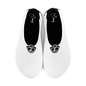 L-RUN Men Women Quick-Dry Water Shoes Lightweight White XL(W:10-11,M:7.5-8.5) M US