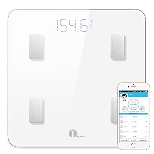 1byone Bluetooth Body Fat Scale with IOS and Android App Smart Wireless Digital Bathroom Scale for Body weight, Body Fat, Water, Muscle Mass, BMI, BMR, Bone Mass and Visceral Fat, White ()