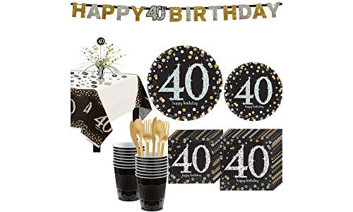 Party City Sparkling Celebration 40th Birthday Party Kit for 16 Guests, 136 Pieces, Includes Tableware and Decorations ()