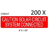200 Premium UV Resistant Solar PV Safety Warning Photovoltaic System Labels CONDUIT