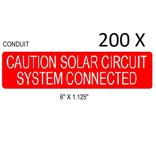 200 Premium UV Resistant Solar PV Safety Warning Photovoltaic System Labels CONDUIT by PV Label Depot